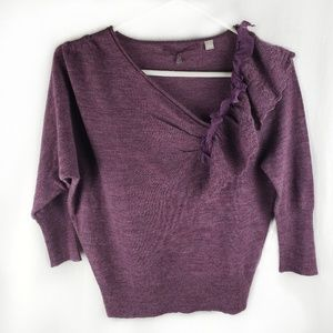 Anthropologie Knitted & Knotted plum sweater S